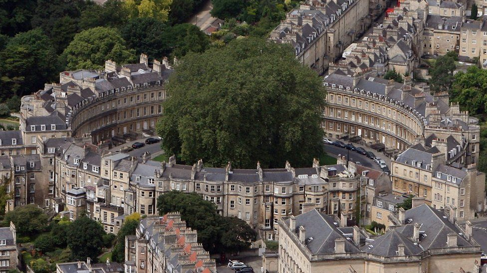 Aerial view of The Circus in the centre of Bath