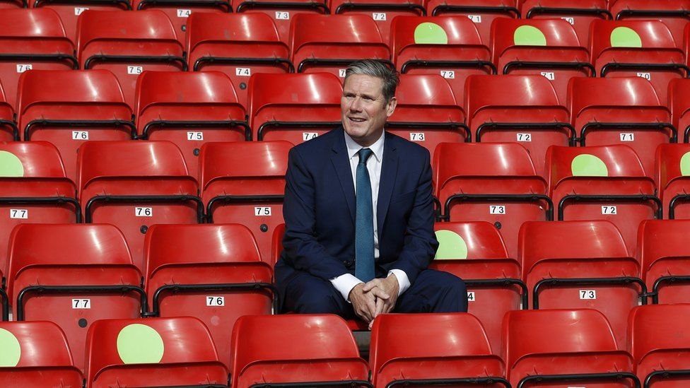 Sir Keir Starmer on a visit to Walsall football club