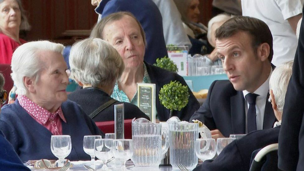 French President Emmanuel Macron visiting a care home in March 2020
