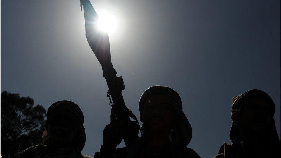 Silhouette of Houthi rebels in Yemen