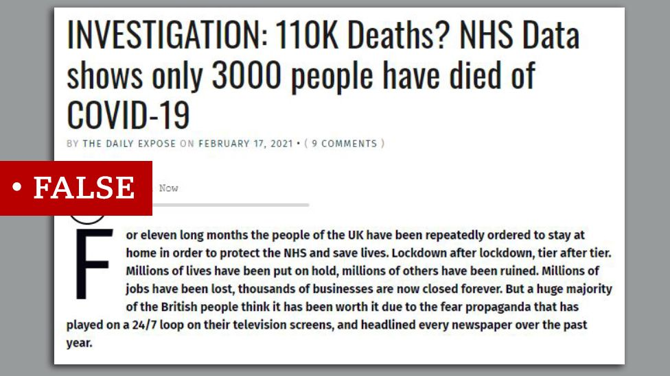 "Article makes false claim about covid death toll. Claim the true figure is 3,000. We added ""false"" label."