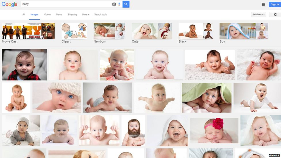 A print screen image showing the Google image result for baby