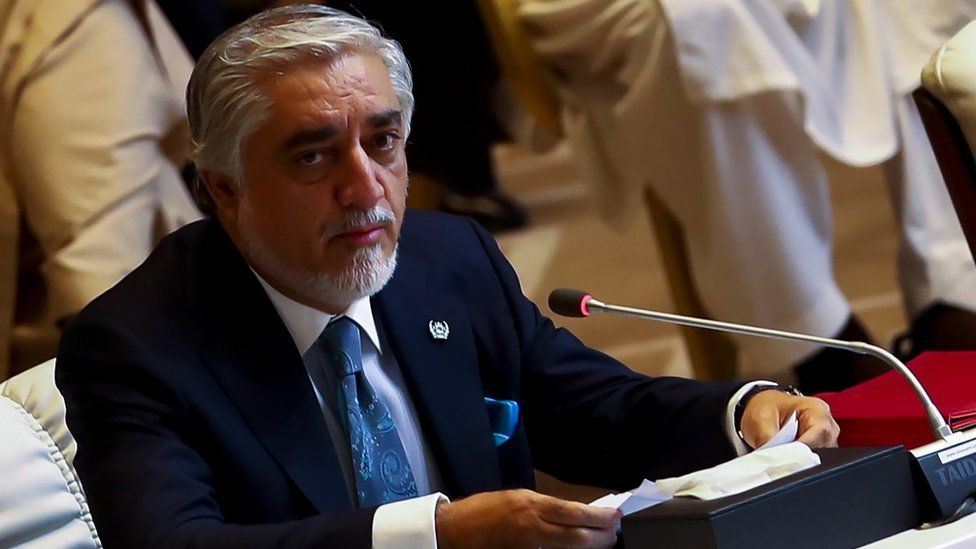 Afghanistan Peace Grand Council chief, Abdullah Abdullah speaks during the opening session of the peace talks between the Afghan government and the Taliban in Doha, Qatar, 12 September 2020