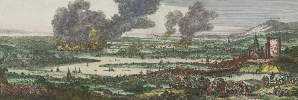 Tocht naar Chatham en de verovering van het eiland Sheppey, 1667, Romeyn de Hooghe, after Willem Schellinks, 1667