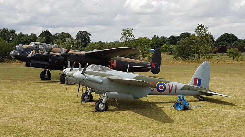 Avro Lancaster bomber and DeHavilland Mosquito