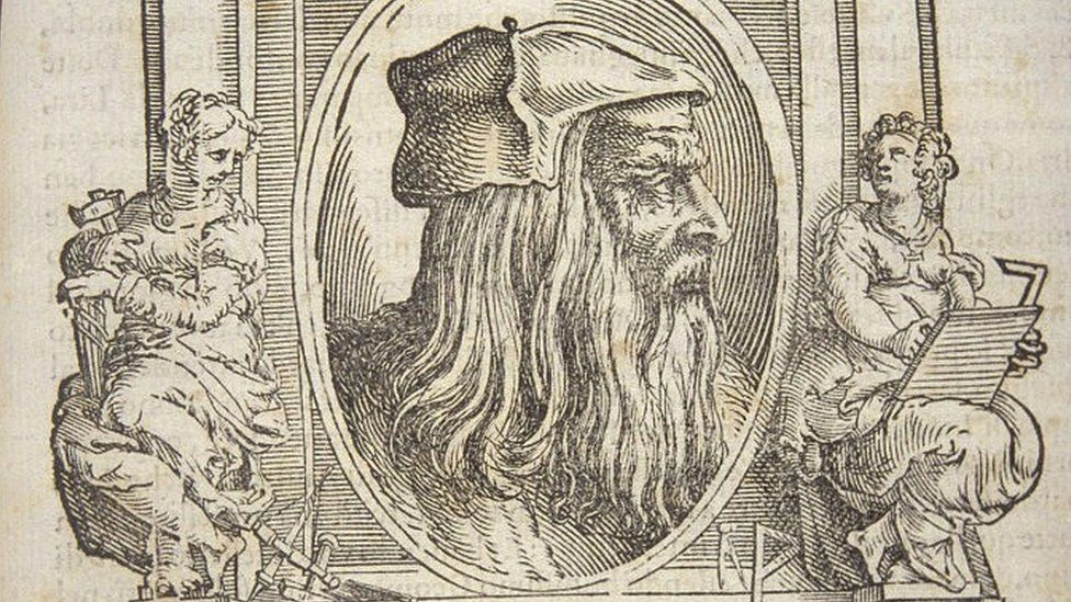 "Leonardo da Vinci pictured in Giorgio Vasari book ""The Lives of the Most Excellent Italian Painters"""