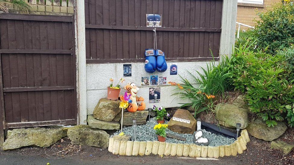 A memorial set up in memory of Mr Brissett