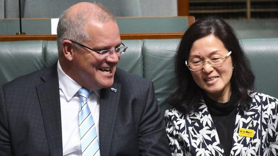 Scott Morrison and Gladys Liu sit in parliament