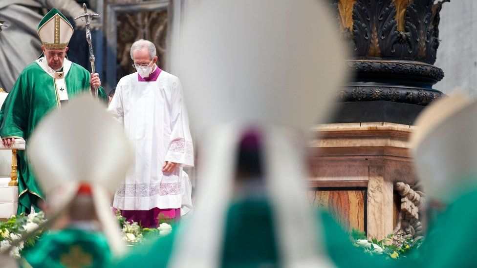 Pope Francis leads a mass for the Synod of Bishops opening at St Peter's Basilica on October 10, 2021 in Vatican City, Vatican
