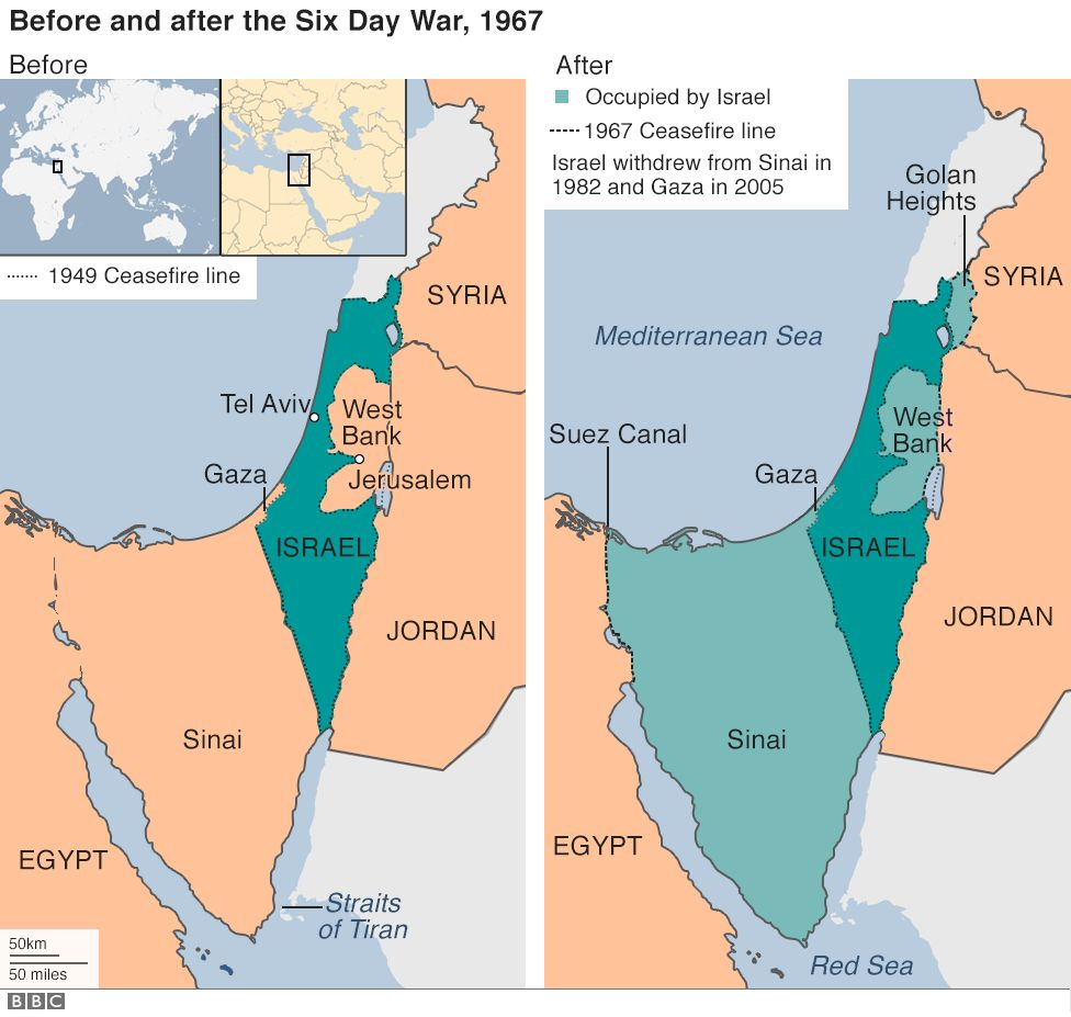 Map of region before and after Six Day War