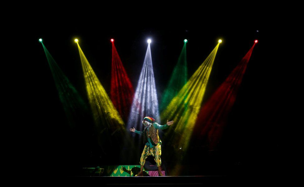 "A cast member of the popular children""s show Tinga Tinga Tales performs at Kenya""s National Theatre in Nairobi, Kenya, September 28, 2018"