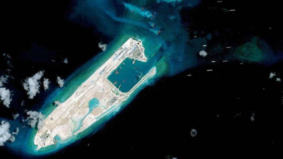 Satellite image of what some say is an airstrip being built on Fiery Cross Reef in the Spratly Islands in the disputed South China Sea.