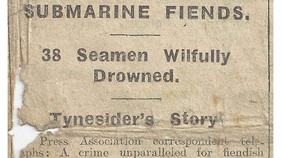 Evening Chronicle reporting on sinking of the SS Belgian Prince