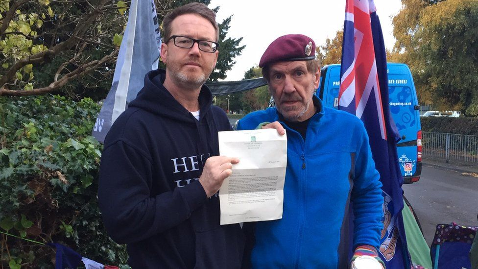 Paddy McCartney and Gus Hales with a letter from Mark Pritchard MP