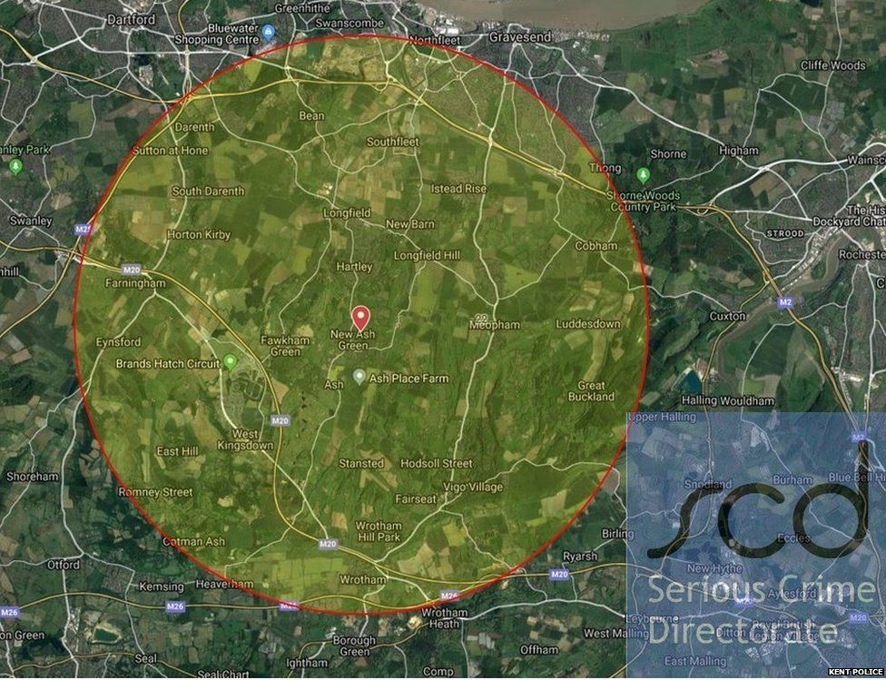 Map of area of interest re searches