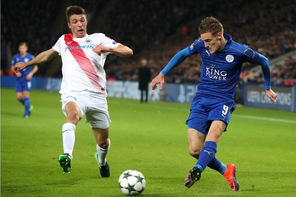 Jamie Vardy in action against Club Brugge