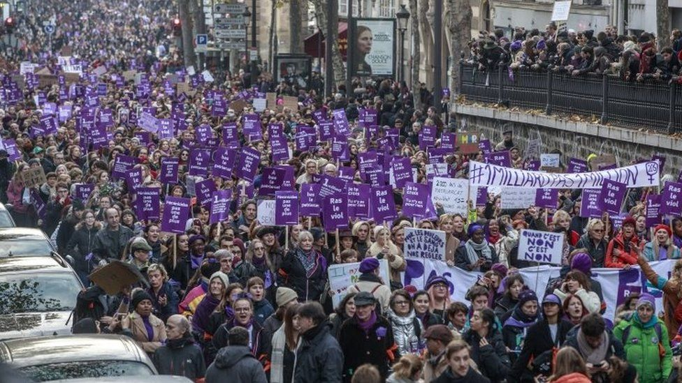 Protesters march in Paris. Photo: 23 November 2019
