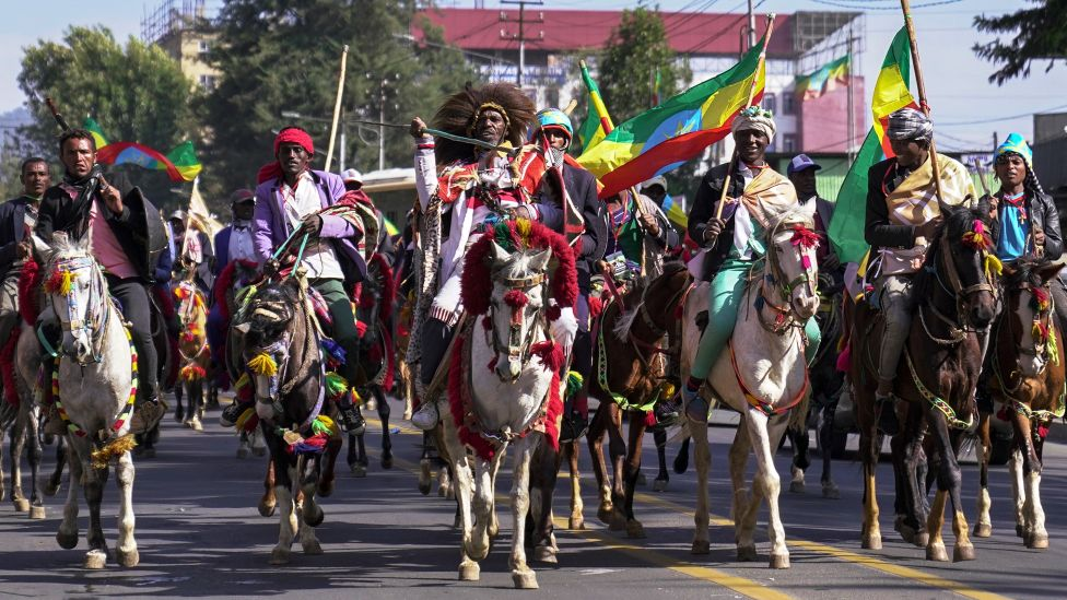 Horsemen at a parade to mark the anniversary of the Battle of Adwa in Addis Ababa, Ethiopia - March 2021