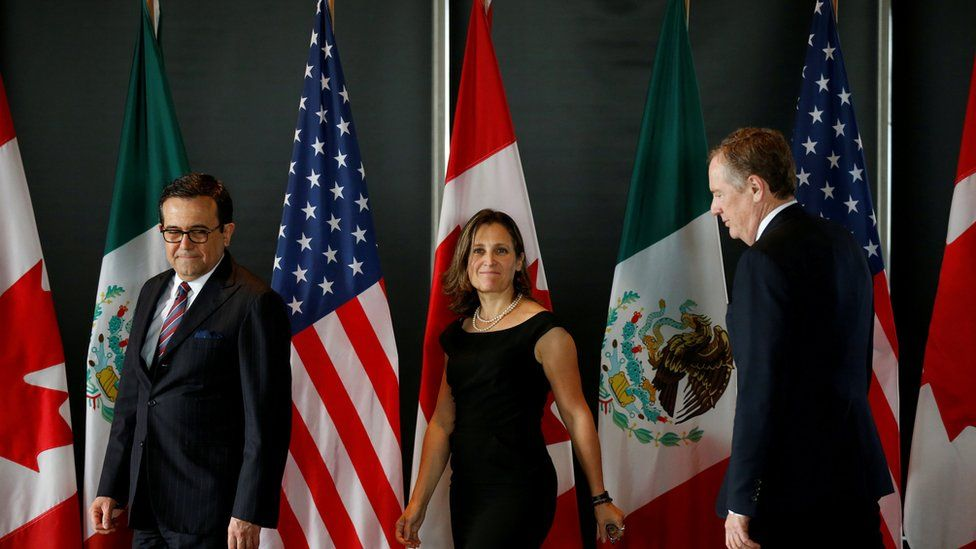 Mexico's Economy Minister Guajardo, Canada's Foreign Minister Freeland and US Trade Representative Robert Lighthizer