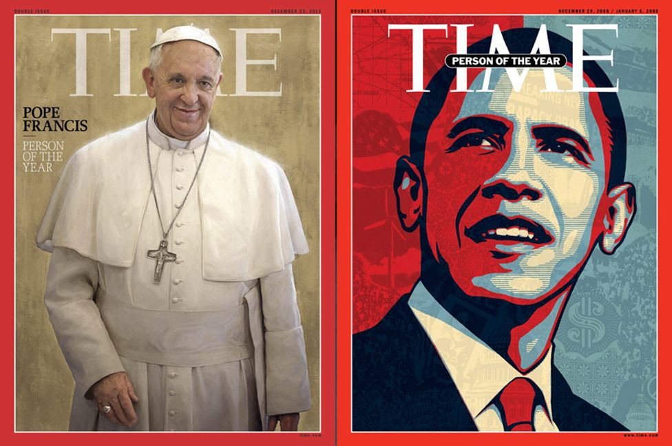 Front covers featuring Pope Francis and Barack Obama