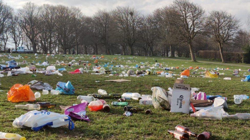 Litter left in Hyde Park, Leeds