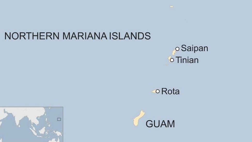 Map showing Guam, Rota, Tinian and Saipan