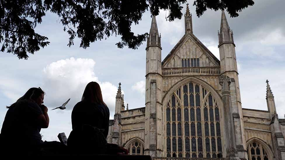 Outside Winchester Cathedral, June 2020