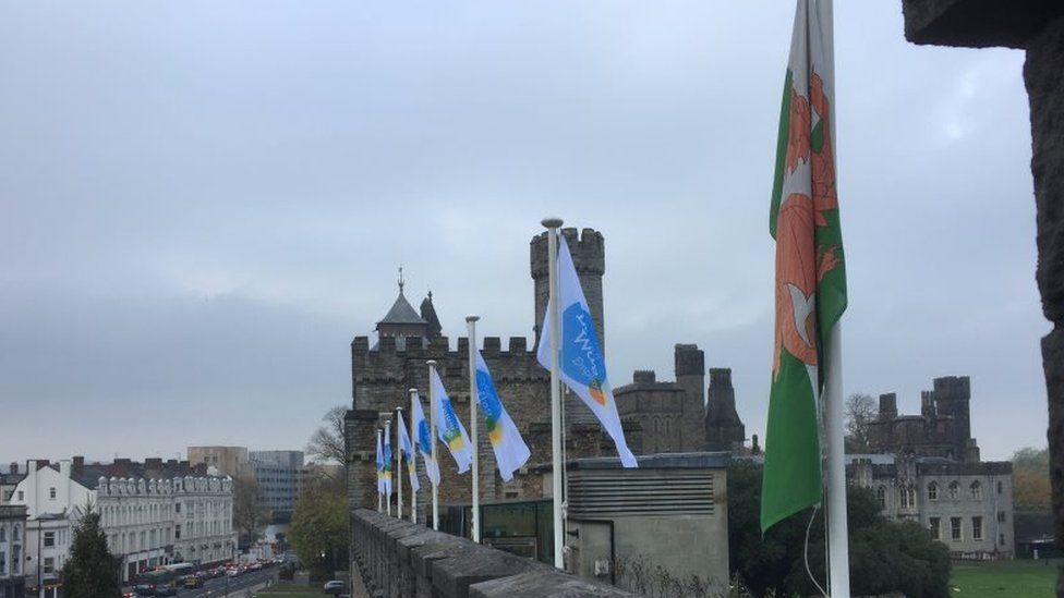 Baneri Cyflog Byw Castell Caerdydd