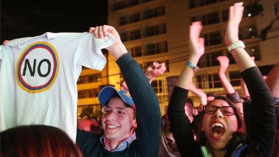 """""""No"""" supporters celebrate following their victory in the referendum on a peace accord to end the 52-year-old guerrilla war between the FARC and the state on October 2, 2016 in Bogota, Colombia"""