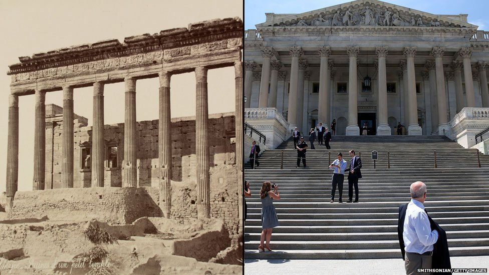Palmyra ruins (left) /Columns on the US Capitol (right)
