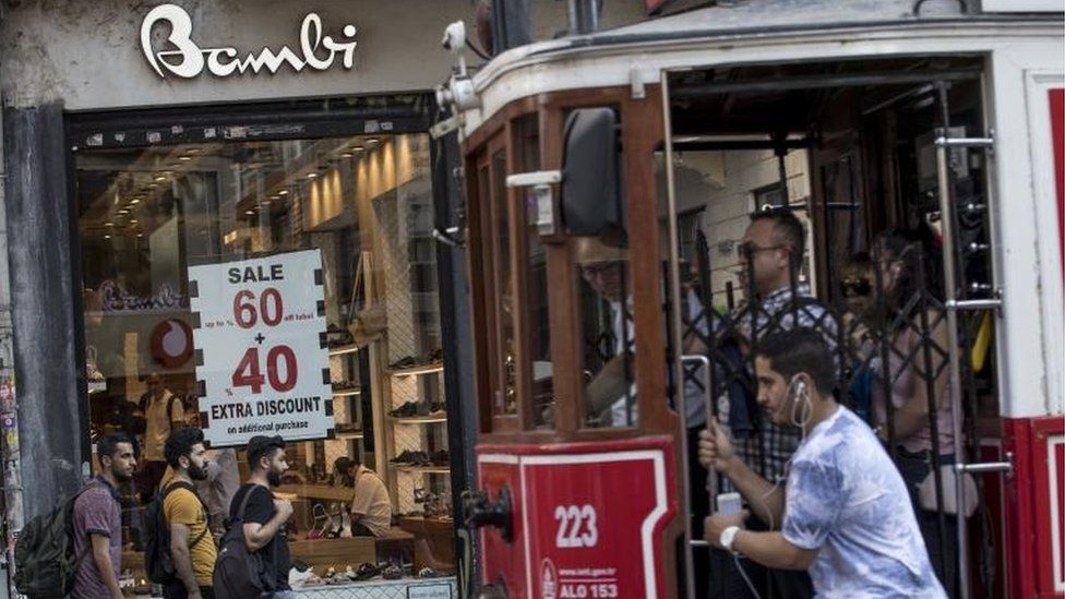 People shopping while a historical tram passes by in Istiklal Street in Istanbul