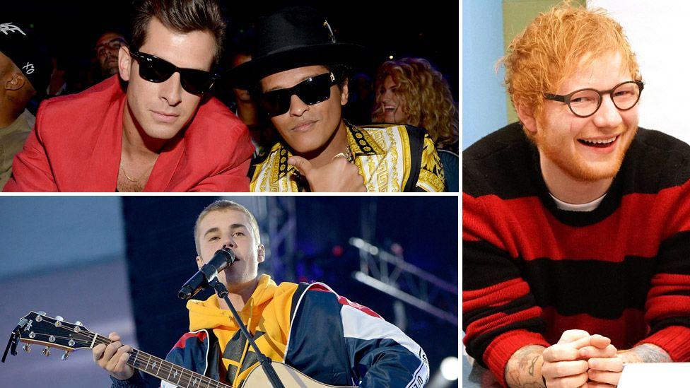 Mark Ronson and Bruno Mars (top left), Justin Bieber (bottom left) and Ed Sheeran