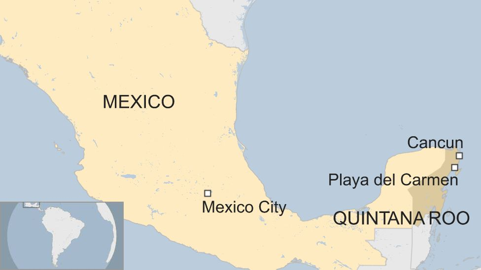 Map of Mexican state of Quintana Roo