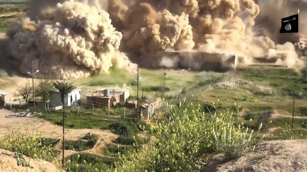 Still from IS video showing explosion at the ancient site of Nimrud