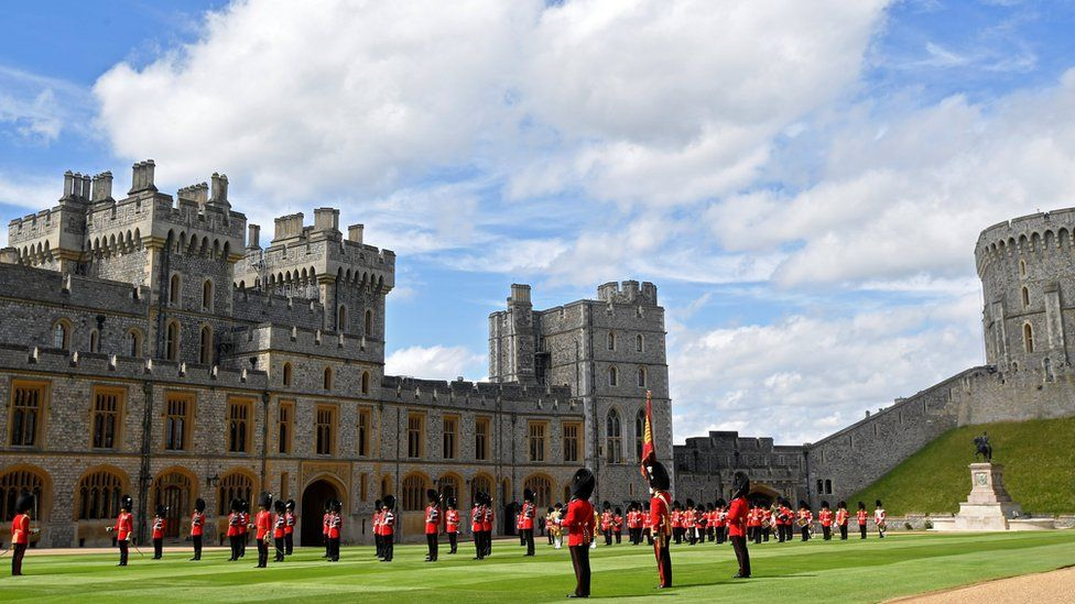 "Guardsmen mark Britain""s Queen Elizabeth""s official birthday at Windsor Castle"