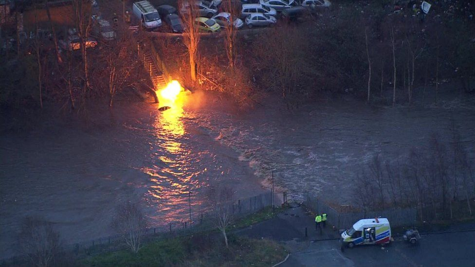 Burning gas main on the edge of the River Irwell in Radcliffe, Greater Manchester on 26 December 2015