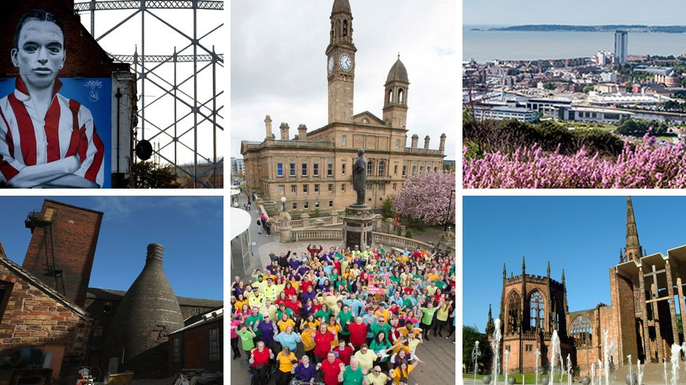 Clockwise from top left: Sunderland, Paisley, Swansea, Coventry, Stoke