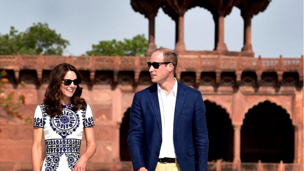 William and Kate at the Taj Mahal on 16 April 2016.