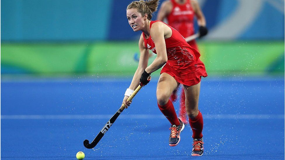 Shona McCallin of Great Britain in action against Netherlands on Day 14 of the Rio 2016 Olympic Games