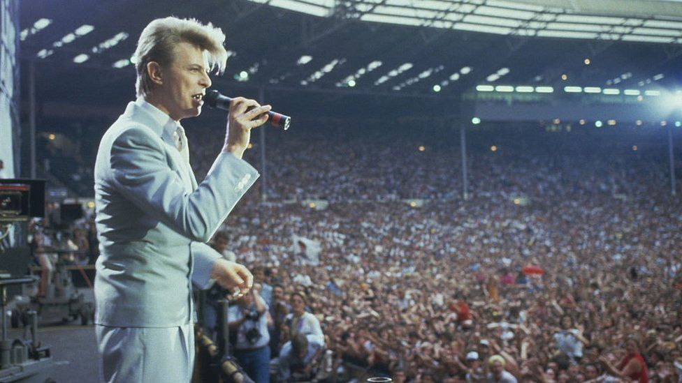 David Bowie on stage at Live Aid at Wembley Stadium in London, 13 July 1985