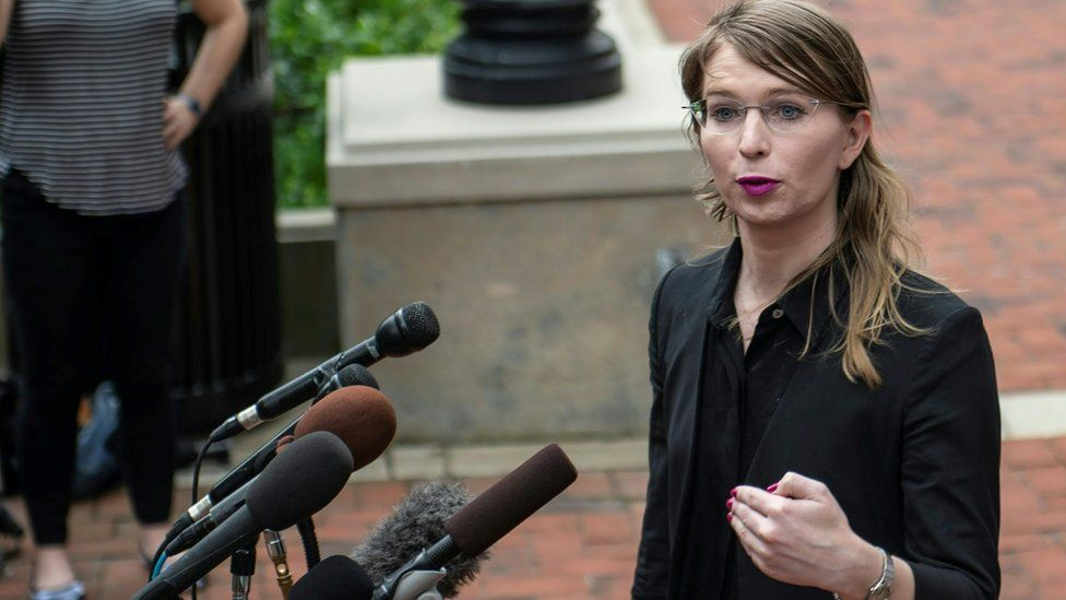 Former military intelligence analyst Chelsea Manning speaks to the press ahead of a Grand Jury appearance about WikiLeaks, in Alexandria, Virginia, on May 16, 2019