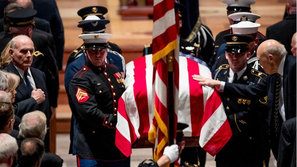 Casket of George HW Bush is carried from the church. 5 Dec 2018
