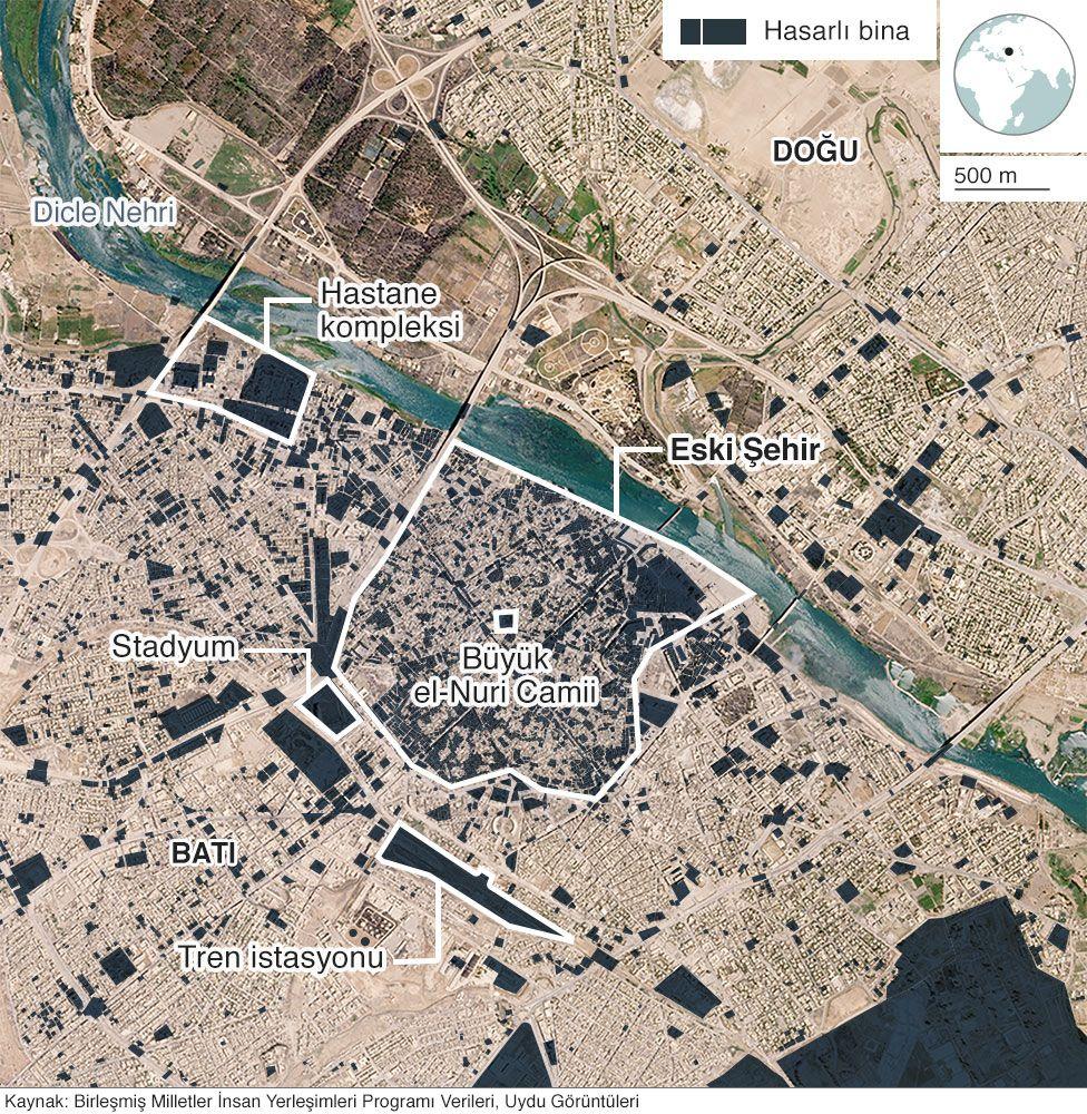 Uydu analizleri kentteki binlerce binanın ve 100 kilometreden fazla yolun ağır hasar aldığını veya yok olduğunu gösteriyor.