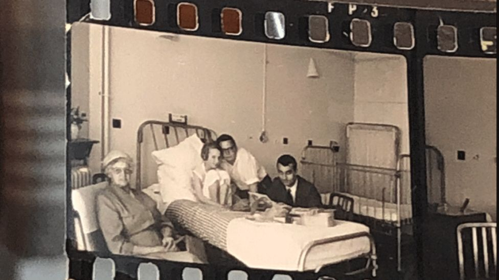 Young Susan Payne in her hospital bed