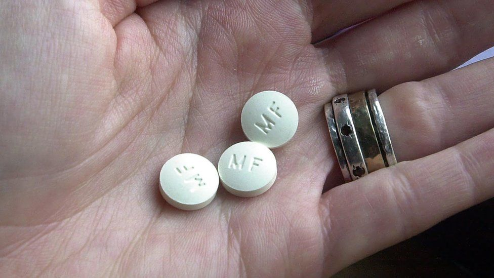 Mifepristone, the first of two drugs typically prescribed for a medication abortion