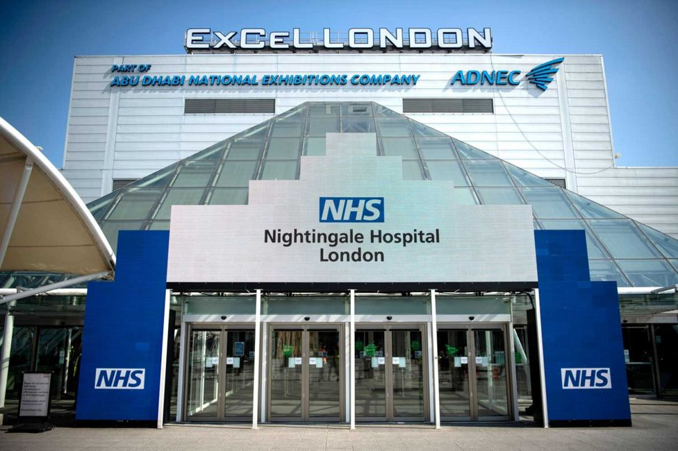 The front entrance of the NHS Nightingale Hospital