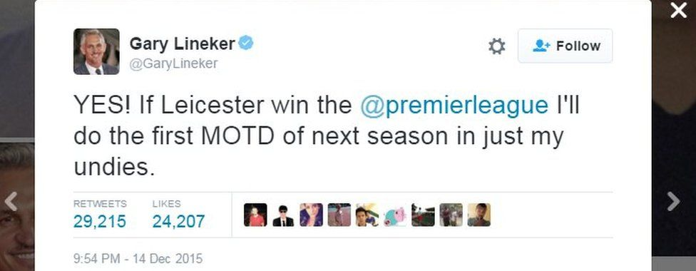 """Gary Lineker tweets: """"YES! If Leicester win the @premierleague I'll do the first MOTD of next season in just my undies."""
