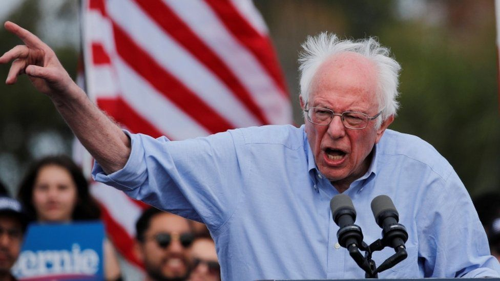 Democratic US presidential candidate Senator Bernie Sanders speaks during a Get Out the Early Vote campaign rally in Santa Ana, California