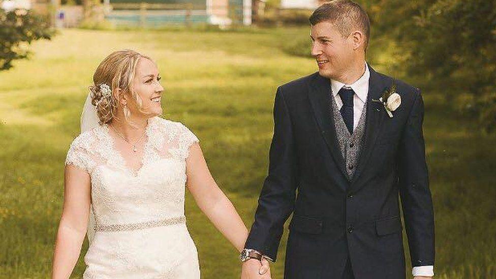 Nicola and Brett Kinloch on their wedding day