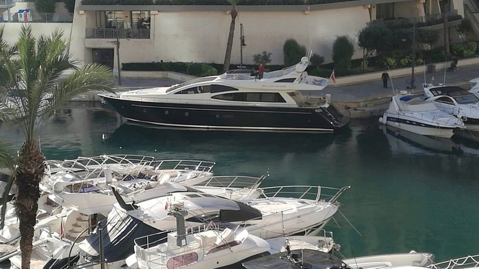 Yacht docked at a the Portomaso port in St Julian's, Malta, November 20, 2019